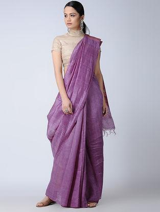 Purple Silk-Linen Saree