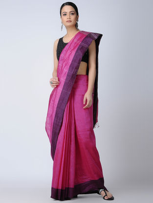 Pink-Purple Silk-Linen Saree