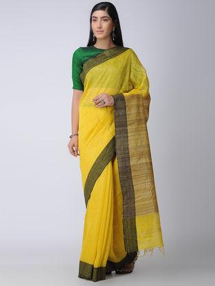 Yellow-Black Silk-Linen Saree