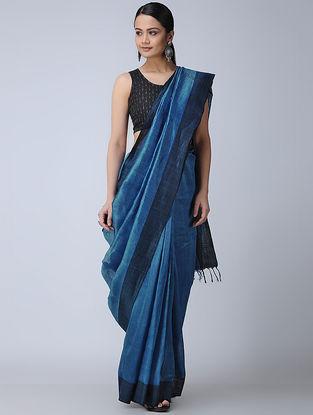 Blue Silk-Linen Saree