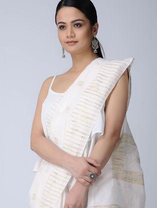 Ivory-Beige Cotton-Silk Saree with Zari