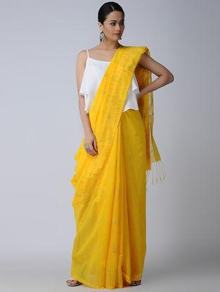 Yellow Cotton-Silk Saree with Zari