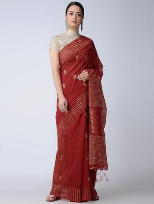 Red-Ivory Cotton-Silk Saree