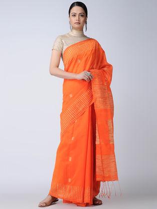 Orange-Ivory Cotton-Silk Saree
