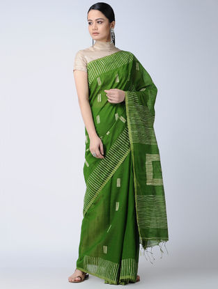 Green-Ivory Cotton-Silk Saree