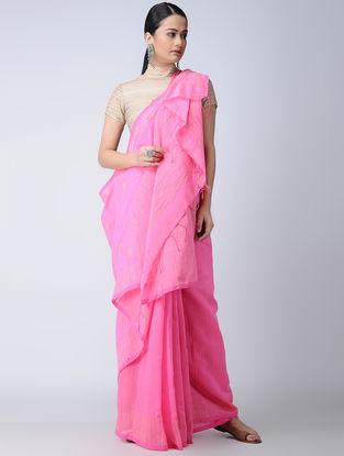 Pink Cotton-Silk Saree with Zari