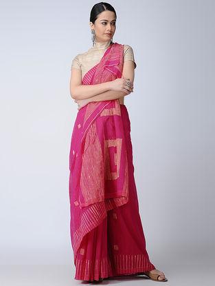 Pink-Beige Cotton-Silk Saree