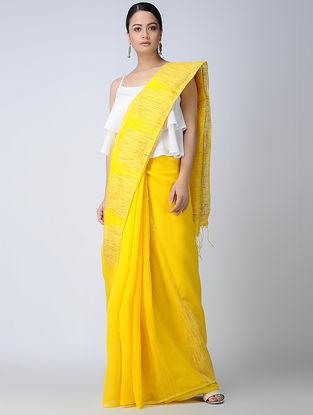 Yellow Silk Saree with Ghicha Palla