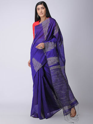 Blue-Ivory Silk Saree with Ghicha Palla