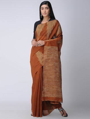 Brown-Beige Silk Saree with Ghicha Palla
