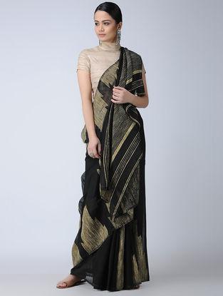 Black-Beige Silk Saree with Ghicha Palla
