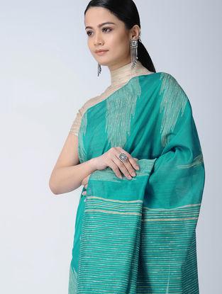 Green-Beige Silk Saree with Ghicha Palla