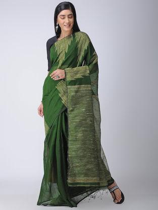 Green-Ivory Silk Saree with Ghicha Palla