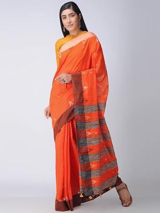 Red-Ivory Cotton-Silk Saree with Tassels