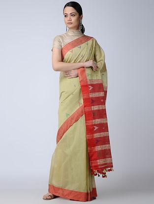 Beige-Red Cotton-Silk Saree with Tassels
