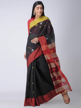 Black-Red Cotton-Silk Saree with Tassels