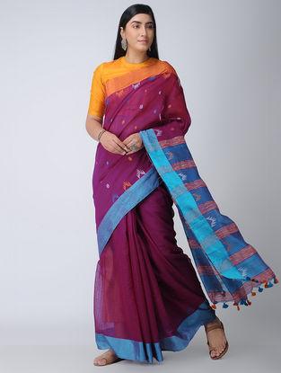 Pink-Blue Cotton-Silk Saree with Tassels
