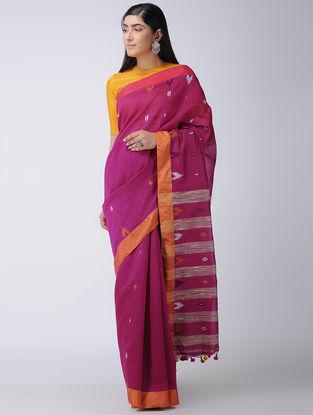 Magenta-Orange Cotton-Silk Saree with Tassels