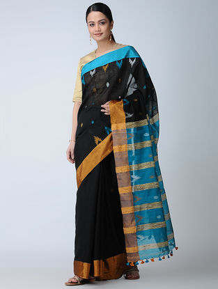 Black-Turquoise Cotton-Silk Saree with Tassels
