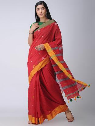 Red-Orange Cotton-Silk Saree with Tassels