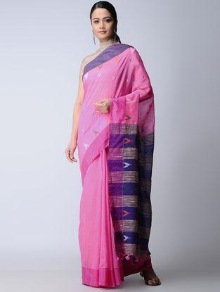 Pink-Blue Cotton-Silk Saree