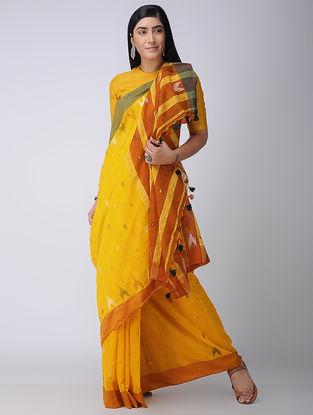 Yellow-Red Cotton-Silk Saree