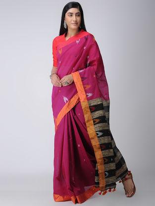 Magenta-Black Cotton-Silk Saree