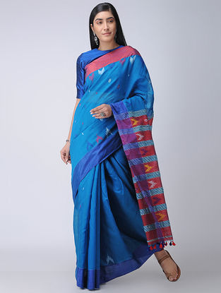 Blue-Red Cotton-Silk Saree