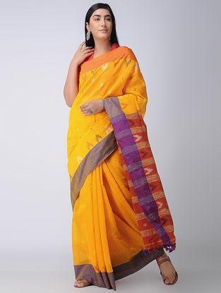 Yellow-Purple Cotton-Silk Saree