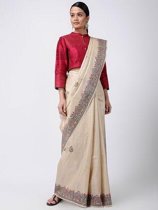 Beige Madhubani Hand-painted Tussar Silk Saree