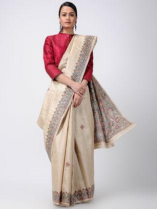 Beige-Orange Madhubani Hand-painted Tussar Silk Saree