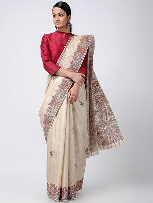 Beige-Pink Madhubani Hand-painted Tussar Silk Saree