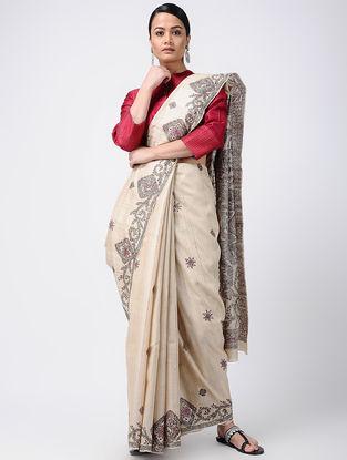Beige-Black Madhubani Hand-painted Tussar Silk Saree