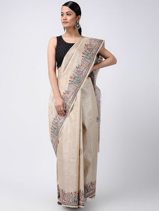 Beige-Green Madhubani Hand-painted Tussar Silk Saree