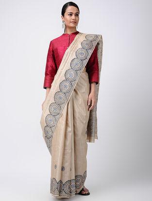 Beige-Blue Madhubani Hand-painted Tussar Silk Saree