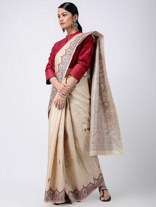 Beige-Red Madhubani Hand-painted Tussar Silk Saree
