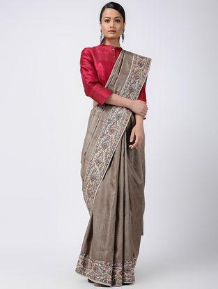 Beige Madhubani Hand-painted Ghicha Silk Saree