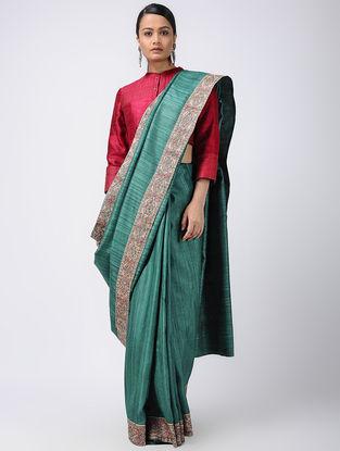 Green Madhubani Hand-painted Tussar Silk Saree