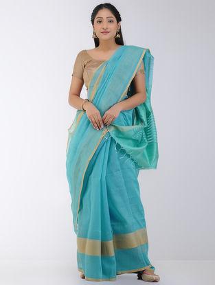 Blue Linen-Silk Saree with Woven Border