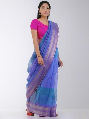 Blue-Green Linen-Silk Saree with Zari Border