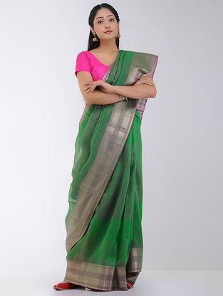 Green Linen-Silk Saree with Zari Border