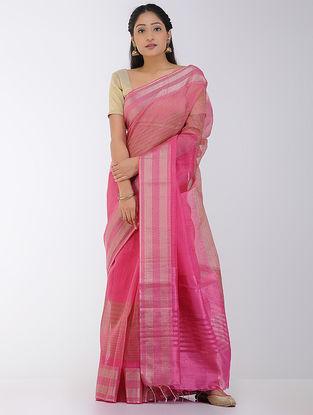 Pink-Beige Linen-Silk Saree with Zari Border