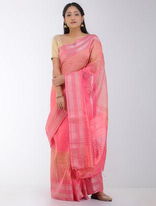 Pink-Peach Linen-Silk Saree with Zari Border