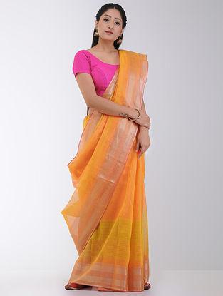 Orange-Yellow Linen-Silk Saree with Zari Border