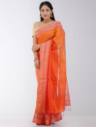 Orange-Red Linen-Silk Saree with Zari Border