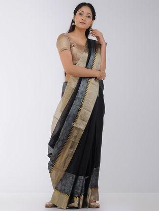 Black-White Linen-Silk Saree with Zari Border