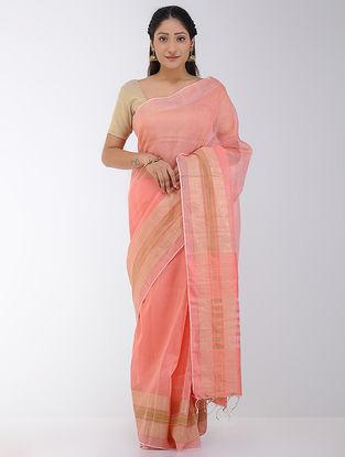 Pink Linen-Silk Saree with Zari Border