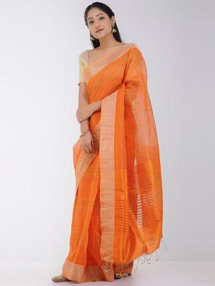Orange Linen-Silk Saree with Zari Border