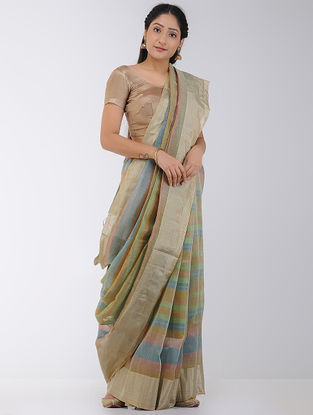 Multicolored Linen-Silk Saree with Zari Border