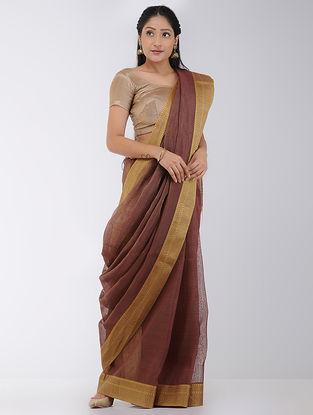 Brown Linen-Silk Saree with Woven Border